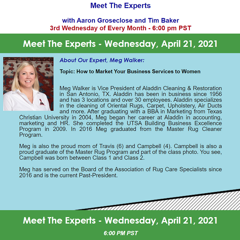 Meet the Experts April 21st, 2021