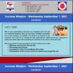 Success Wisdom September 1st, 2021